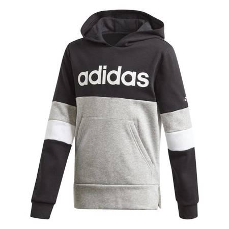 Bluza dla dzieci adidas Linear Colorbock Hooded Fleece czarno-szara GD6324