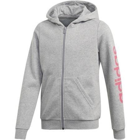 Bluza dla dzieci adidas YG Essentials Linear Full Zip Hoodie szara EH6125